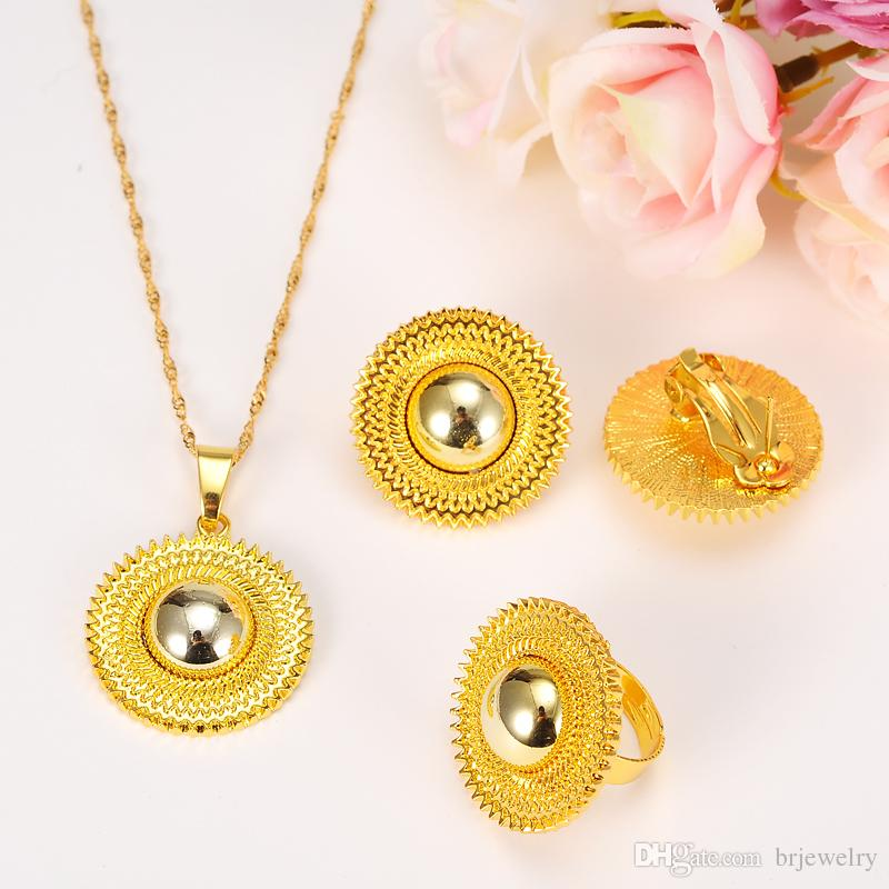 Ethiopian Wedding Bridal Jewelry Sets Gold Necklaces Habesha