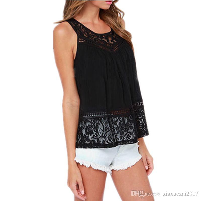 Femmes d'été Blouse Dentelle Sans manches Dos Nu noir Crochet Casual Shirts Tops chauds Plus La Taille S - XXX
