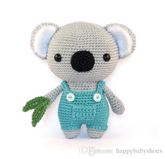 Cute Koala amigurumi crochet rattle toy Crochet Knitted Stuffed animals doll toy baby rattle
