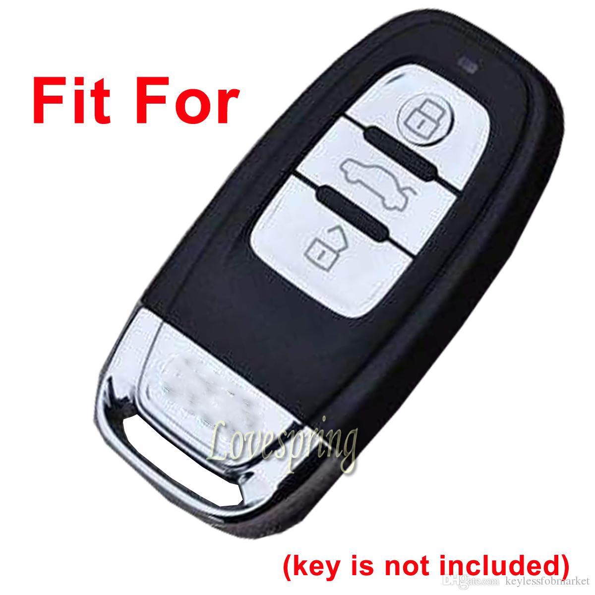 3 Botones Car Key Fob Control remoto Funda de la llave Titular de la piel Protector Shell sin llave para Audi A1 A3 A4 A5 A6 A7 A8 Q5 Q7 R8