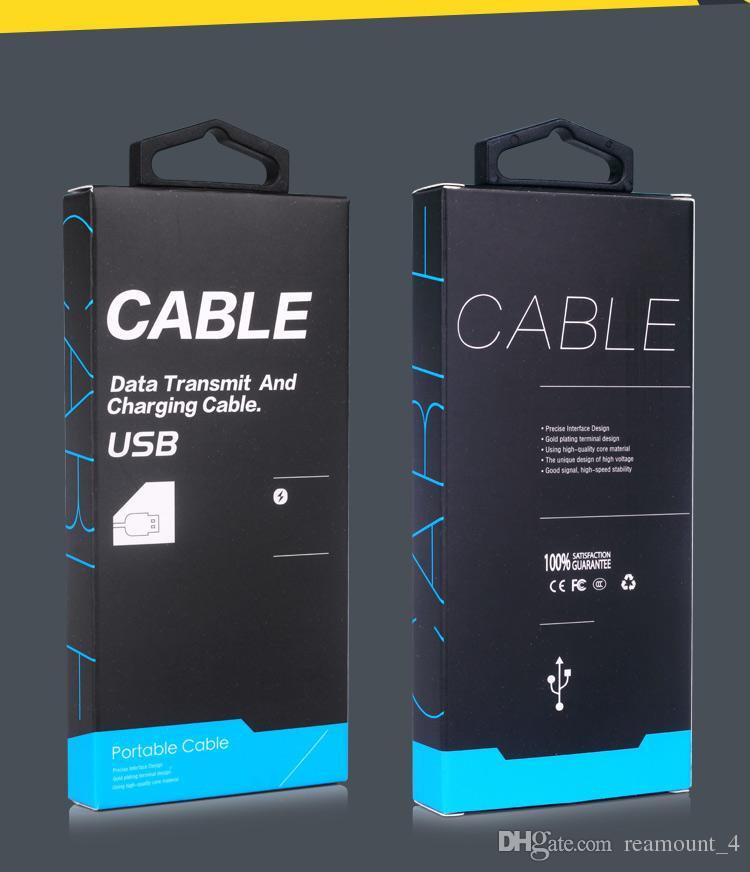 Venda por atacado quente caixa de papel de embalagem universal com cabide para iphone 5 6 7 usb cabo de embalagem personalizada para disply