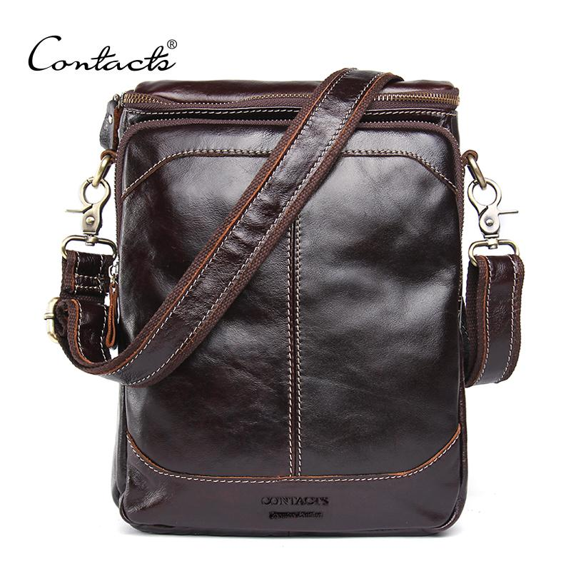 a7d6dabdb06 CONTACT S HOT!! 2017 Genuine Leather Bags Men High Quality Messenger ...