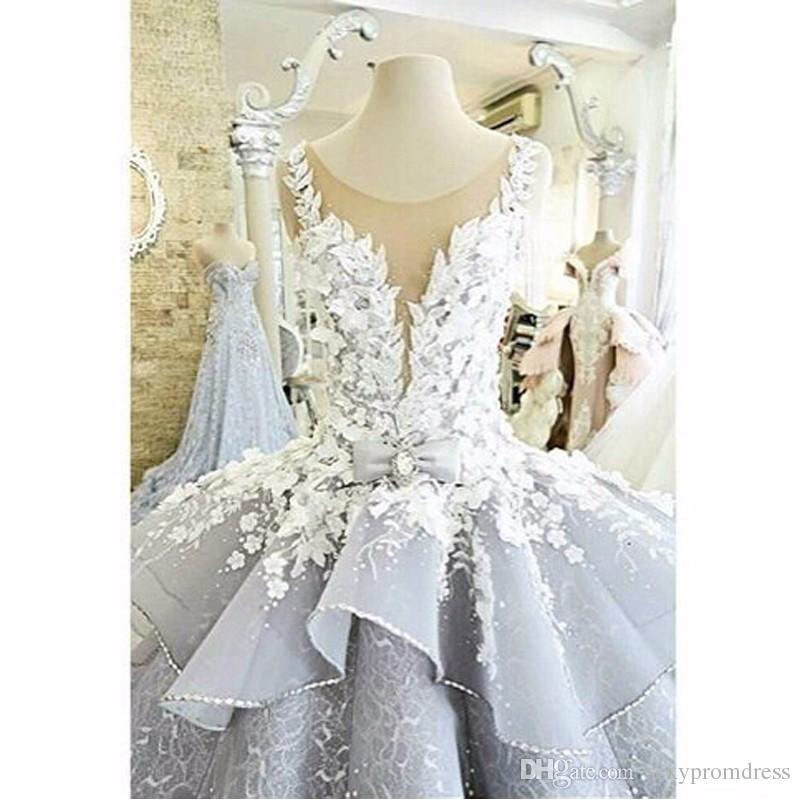 럭셔리 3D- 꽃 Appliques 웨딩 드레스 2017 얇은 목 민소매 Peplum 볼 가운 신부 가운 사용자 지정 만든 환상 다시 Vestidos