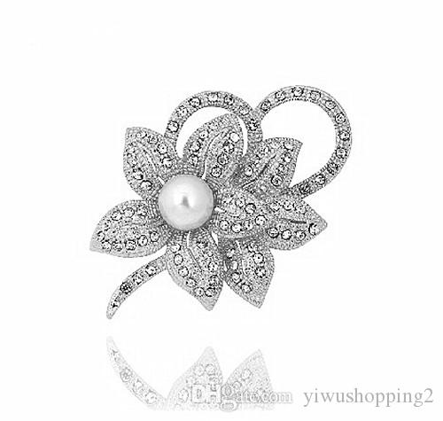 2 Inch Sparkly Silver Plated Clear Diamante Rhinestone Crystal Flower Bridesmaid Pin Brooch with Ivory Pearl