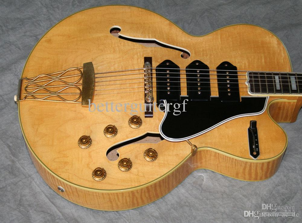 Custom Blonde Natural Flame Maple Top Hollow Body 5 Switchmaster