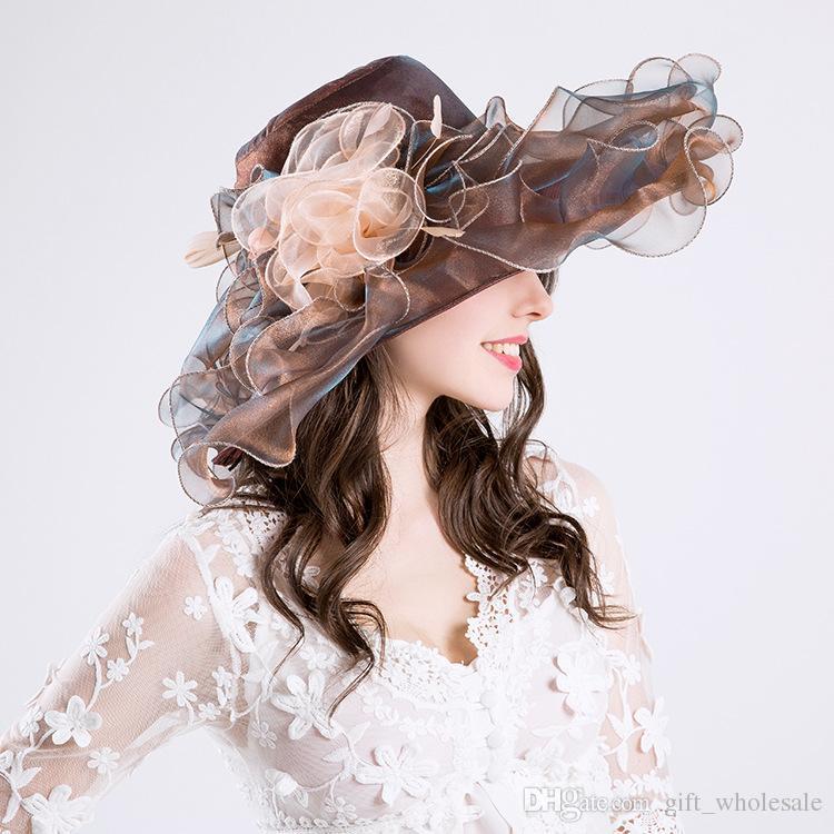 Alta Qualidade Elegante Fina gaze grande chapéu de aba chapéus de casamento da igreja do partido Moda chapéu Chapéus de Sol 6 cores