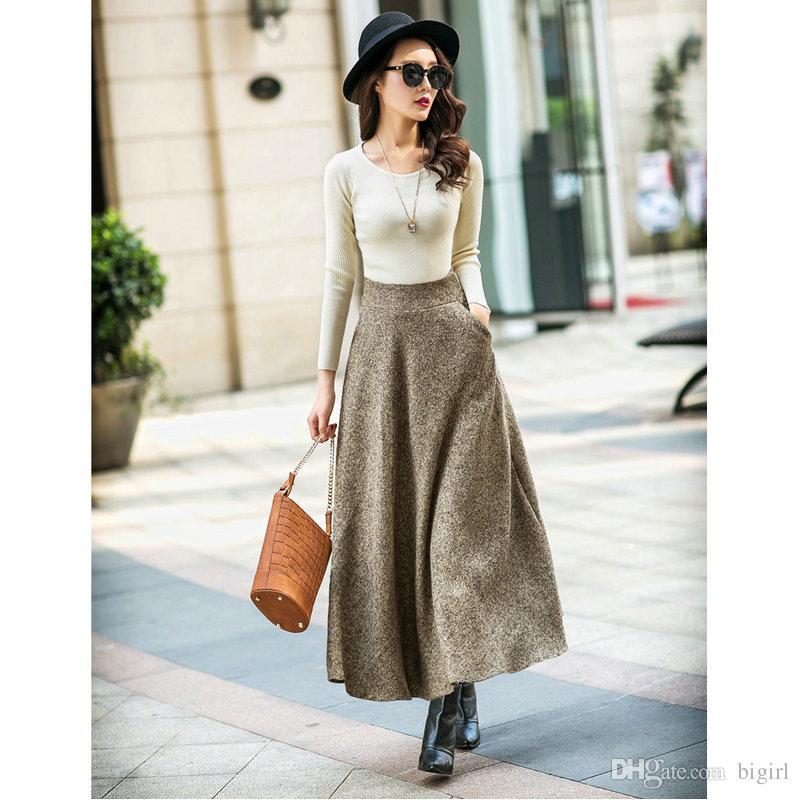 75ee7e8c1b3 Acheter 2017 2018 Laine Automne Hiver Plus La Taille Une Ligne Midi Laine  Jupe Faldas Mujer Femmes Taille Haute Longue Maxi Tutu Plissée Jupe Saias  De ...