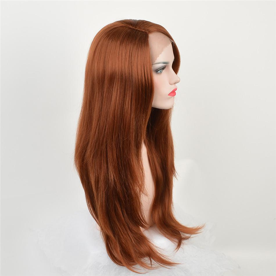 Fashion lace front wig mixed brown natural straight synthetic lace front wigs with blonde tips dark roots glueless heat resistant fiber hair