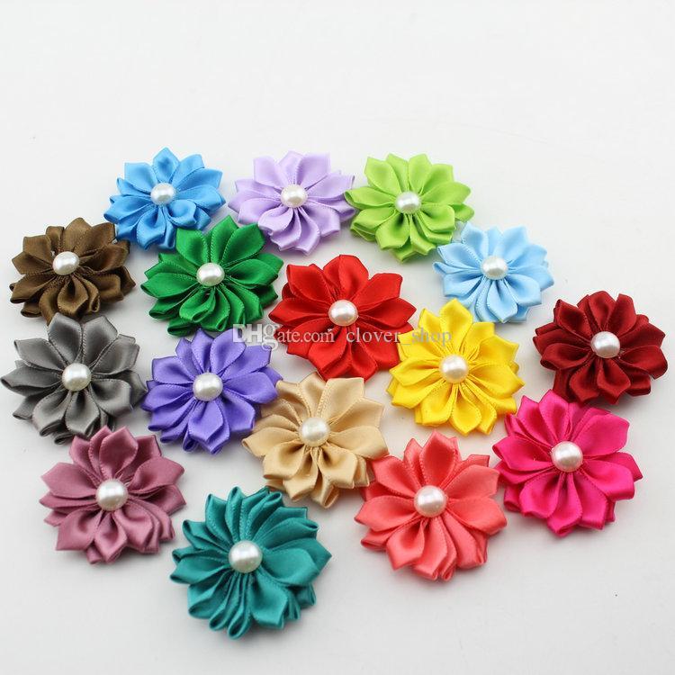 Mode ruban satin Multicouches Fleurs Tissu Pour Bandeaux Kid Perle fleur bricolage de Noël Accessoires de cheveux