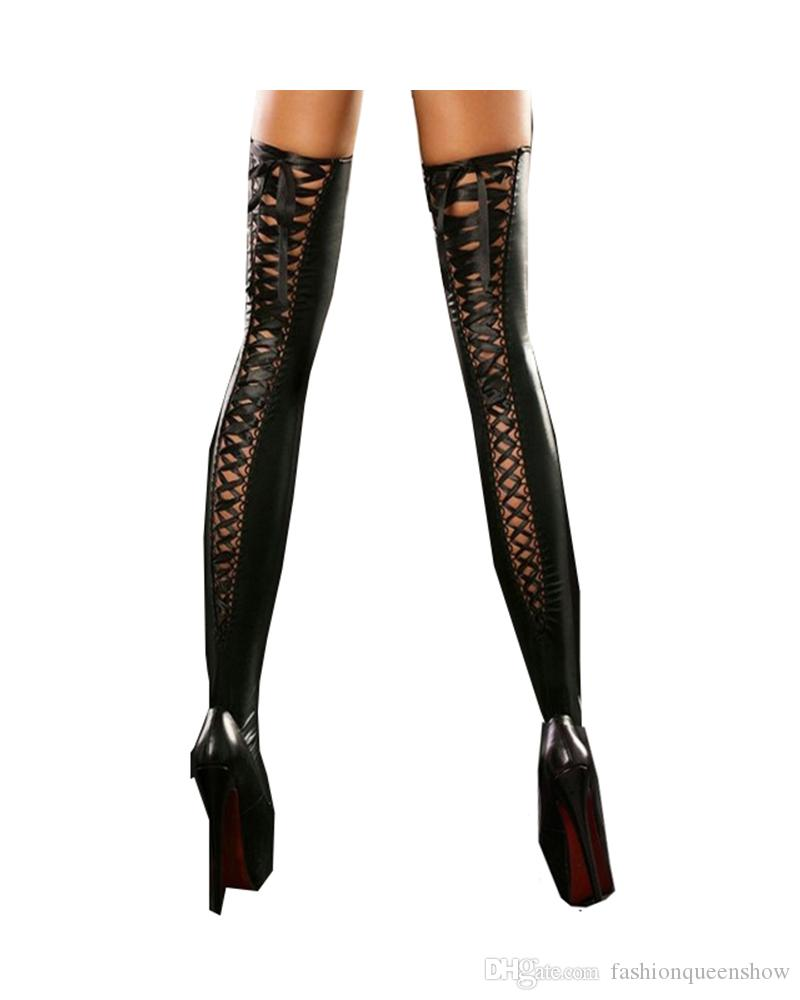 Black/Purple/Red Sexy Lace Up Stockings Women's Hold Up Stockings Ribbon Socks Fancy Dress Stripper Pole Dance Clubwear