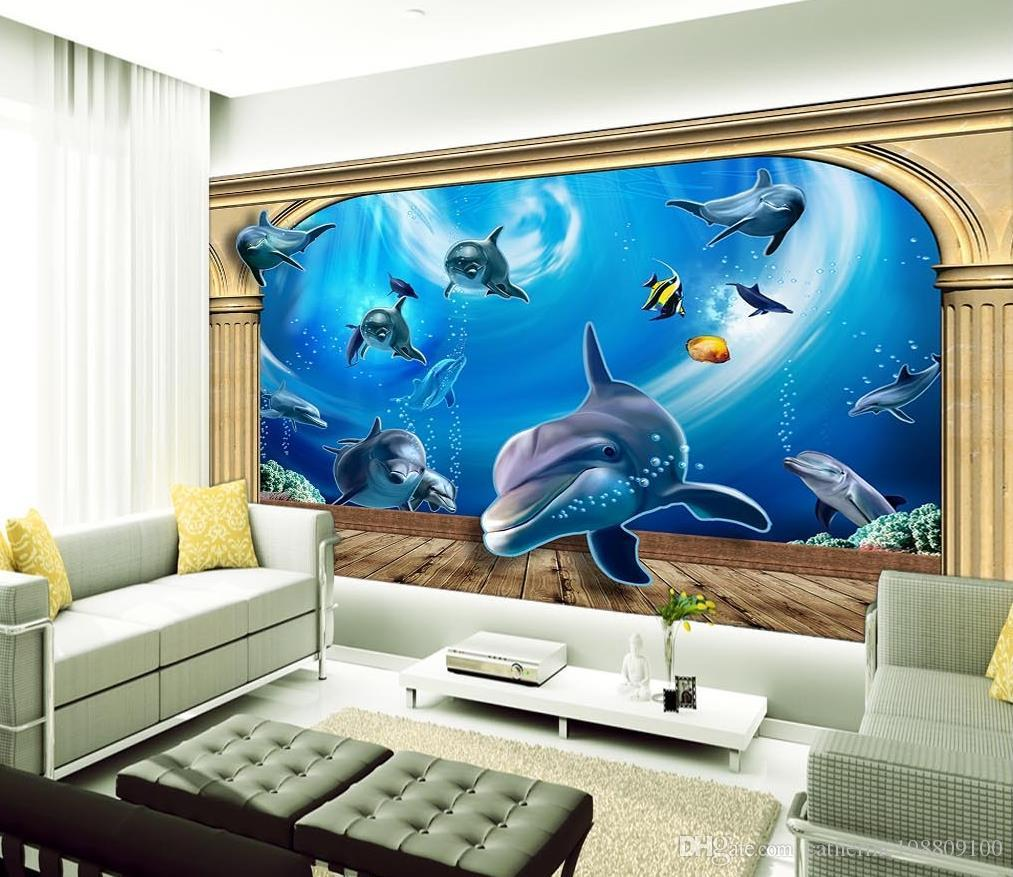 3photo Customize Size 3d Roman Column Underwater World Background Wall Wallpaper For Walls 3 D Living Room Widescreen