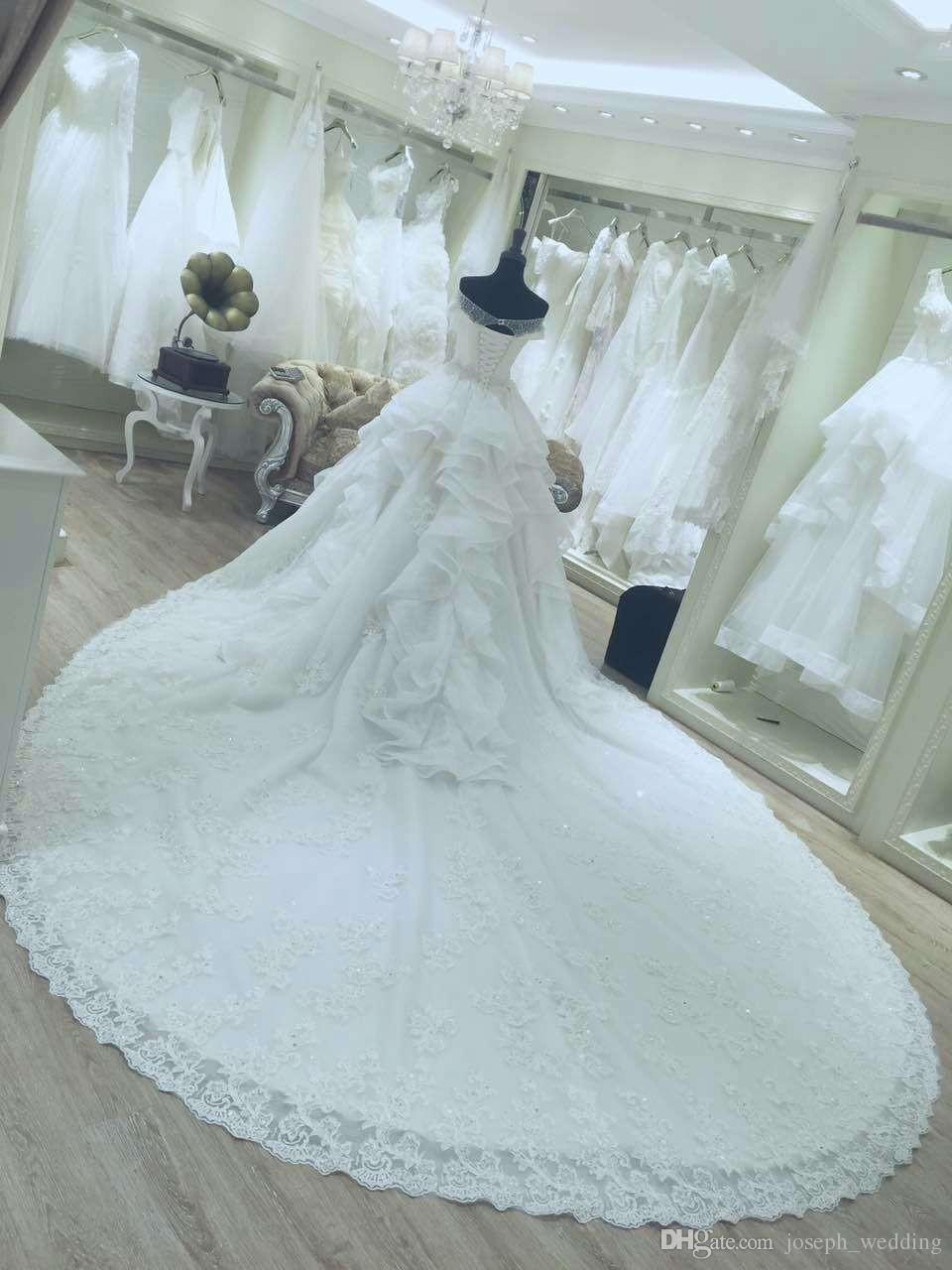 2017 new design real picture ball gown wedding dress for fat women strapless neckline chapel train