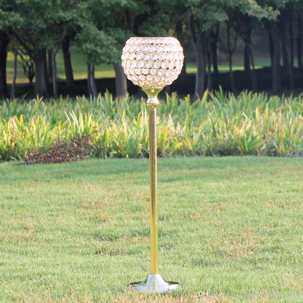 65 см высота золотой кристалл свадебные украшения подсвечники событие подсвечники партия свеча стенд центральным канделябры