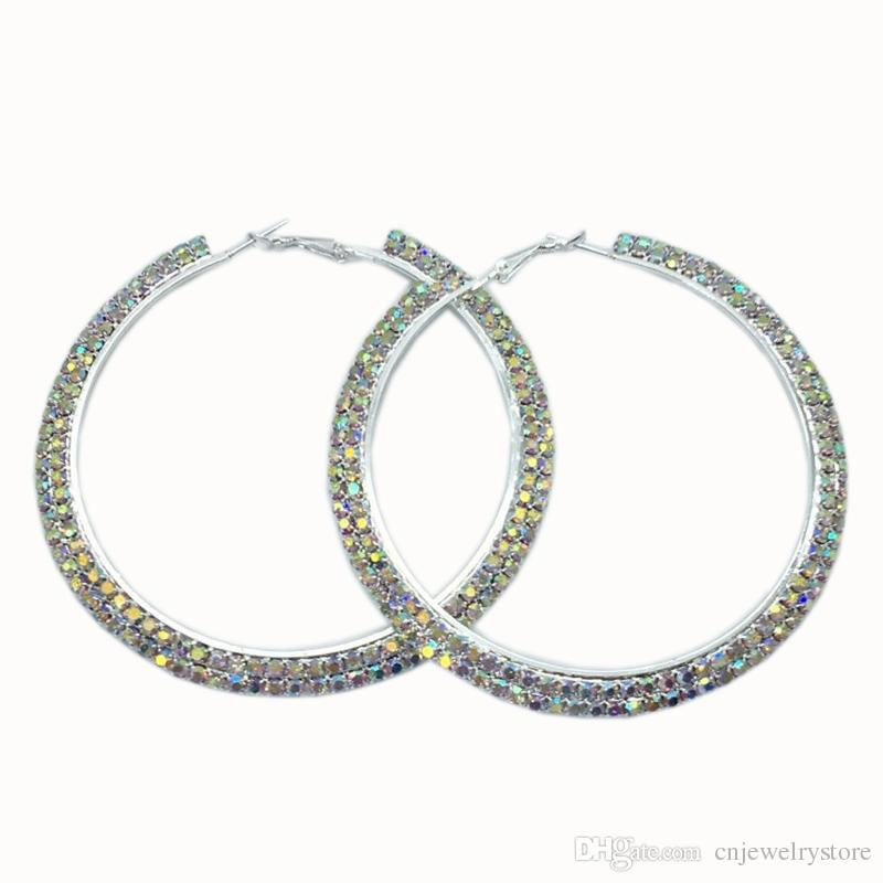 0859ea8d6ac1 2019 Rhinestone Crystal Large Hoop Earrings AB Rhinestones Round Circle  Earrings Delicate Big Hoops Fashion Jewelry For Women From Cnjewelrystore