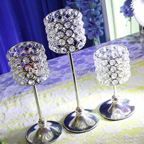 Crystal Candle Holder Metal Silver Candlestick Lantern Votice Candle Stand Candelabra Centerpieces Wedding Decoration Mariage