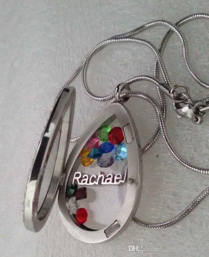 Brand OEM 316L Surgical Stainless Steel Crystals Face Big Waterdrop Shaped Magnetic Glass Floating Charm Locket Pendant Snake Chain Necklace