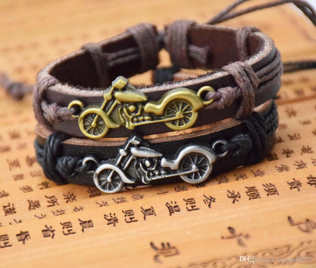 Coffee Leather Bracelet Cool Bronze Harley motorcycle Design haulage motor Wristband Jewelry Holiday Gift for Men and Women Free Shipping