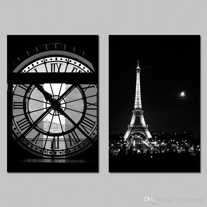 2018 no framed paris eiffel tower black and white clock for Eiffel tower wall mural black and white