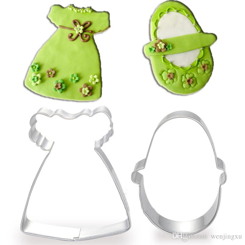 2pcs flower girl dresses shoe metal cookie cutter sets fondant Cake Decorating tools biscuit stamp mold cupcake toppers