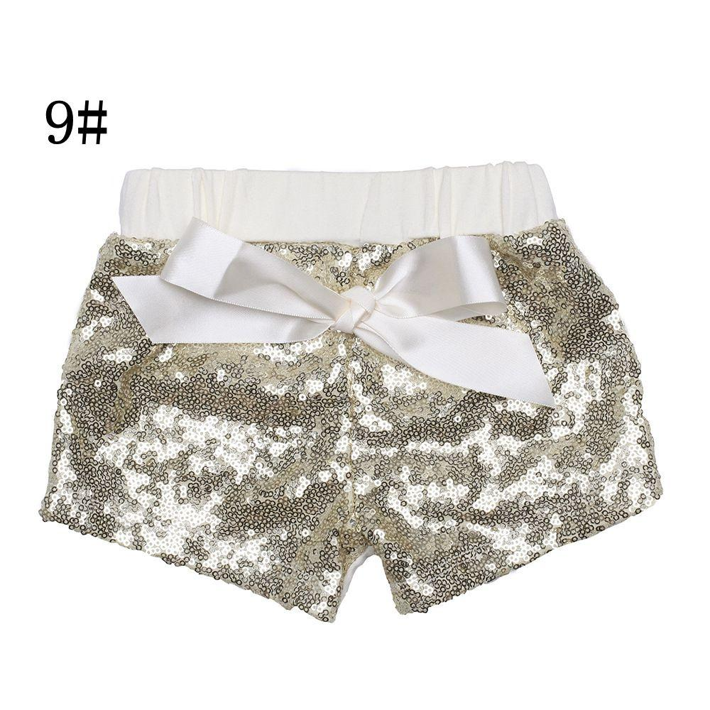 Toddler baby sequins shorts for summer girls satin bowknot short pants kids boutique shorts childrens candy trouser 17-33
