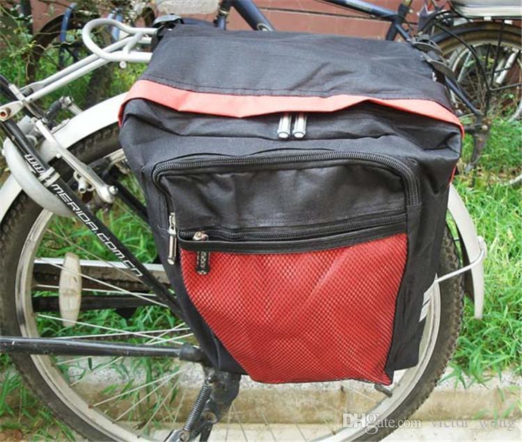 Borsa da sella bicicletta da ciclismo nera Borse da bici Borsa da sella posteriore in PVC e nylon impermeabile con doppio lato posteriore Borsa borse laterali Accessori biciclette