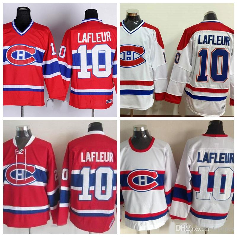 2018 Throwback Guy Lafleur Montreal Canadiens Hockey Jerseys 1983 Ccm  Vintage V Neck Red 10 Guy Lafleur Jersey Stitched Logo Cheap From Tryones,  ...