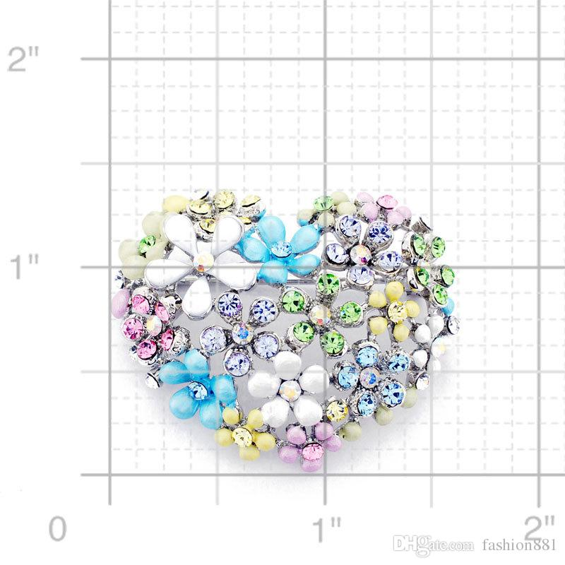 Multicolor Flower Heart Pin Crystal Fashion Pin Brooch 1.625 x 1.375 inches