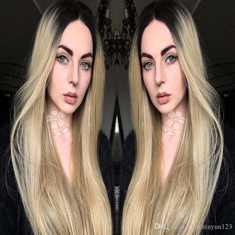 Ombre Blonde Silky Straight Synthetic Lace Front Wig 2Tone Black Root/Blonde Ombre Heat Resistant Hair Wigs With Baby Hair For Fashion Women