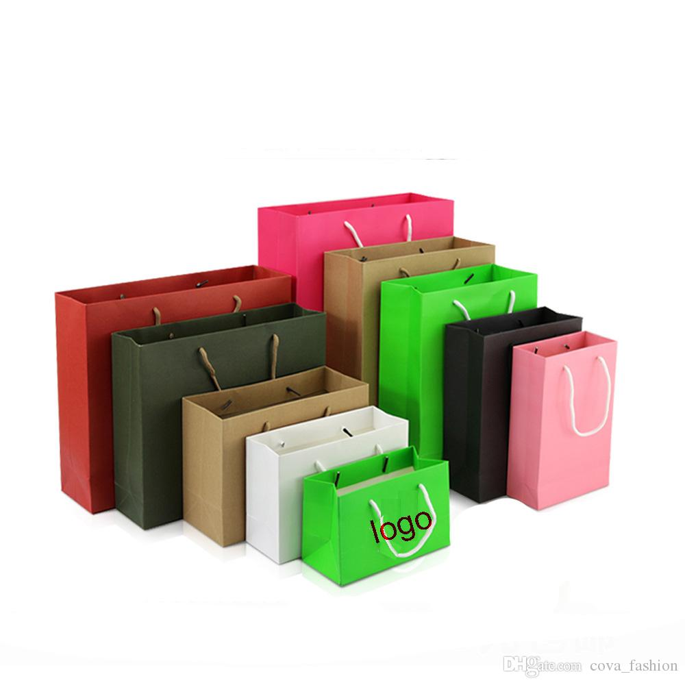 wholesale 10 sizes stock and customized paper gift bag kraft paper bag with handles logo available