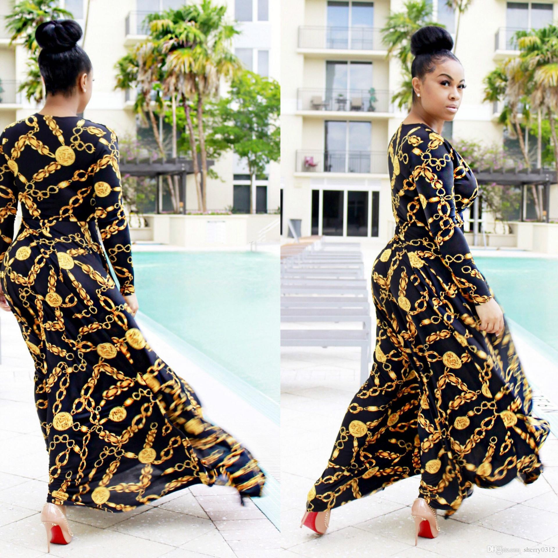 a7bda05619 Vestito lungo da donna 2017 primavera Vestito lungo stampato tradizionale  africano Dashiki Elastico elegante aderente Catena vintage stampato Abiti  ...