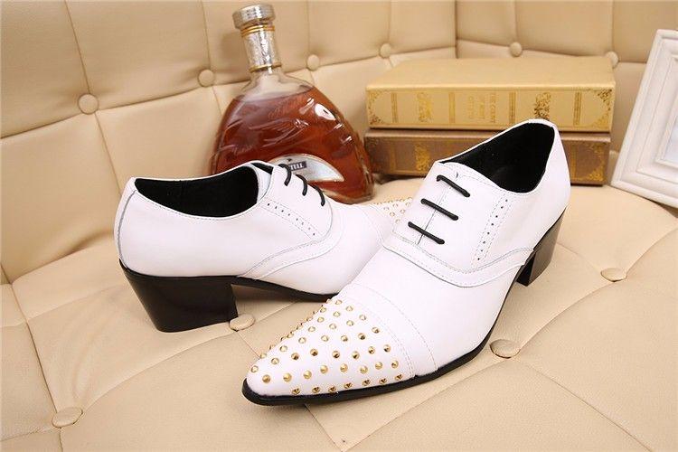Christia Bella Marke Echtes Leder Männer Oxfords Weiß Hochzeit Formale Schuhe Niet Business Kleid Schuhe Männer Brogues Wohnungen Schuhe