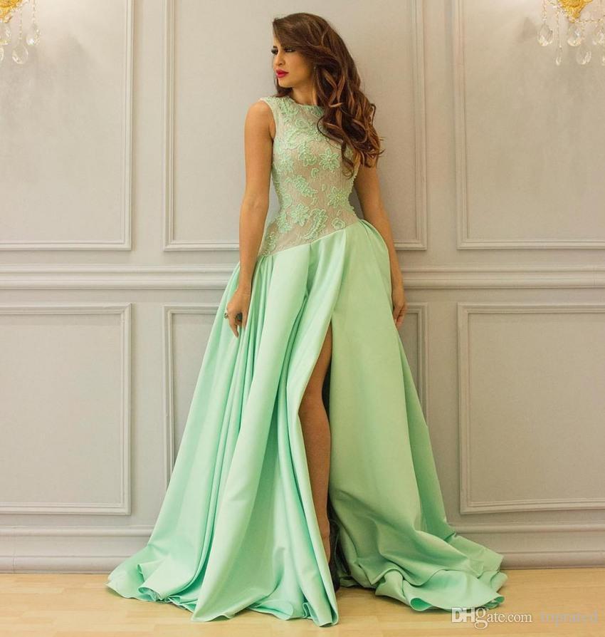 Modest hortelã longos vestidos Prom vestido de baile cetim Side Dividir mangas Bateau laço no pescoço árabes Mulheres Evening Formal Vestidos Convidado da festa Vestido
