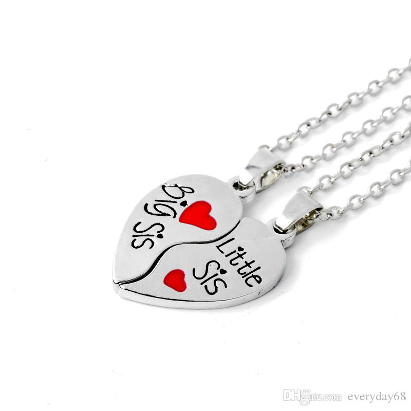 """Hot sale """"Big sis Little sis"""" Red Heart shaped Pendant Necklaces Sister Chains BFF Best Friends Forever Gift"""