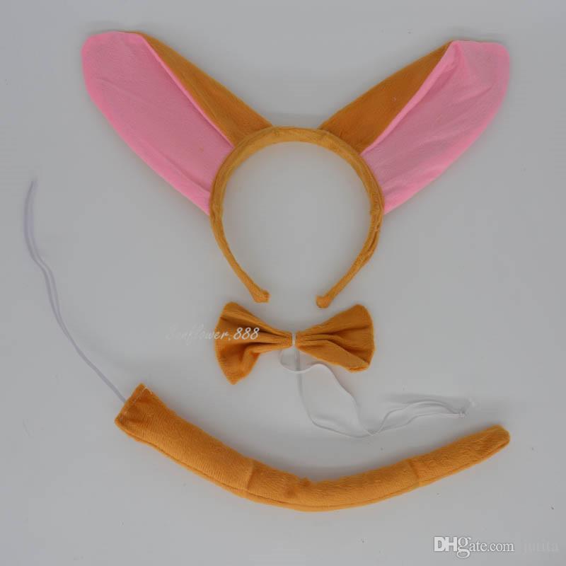 Long EAR Kids Animal Halloween Donkey Headband Bow Tail Birthday Party Costume Wedding Decoration