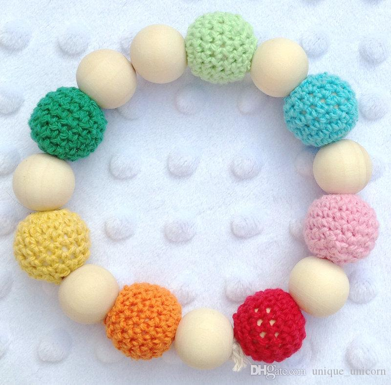 Infant baby Teethers Teething baby Crochet nursing toy - teething crochet Neo rainbow colour crochet bead Natural teether bell