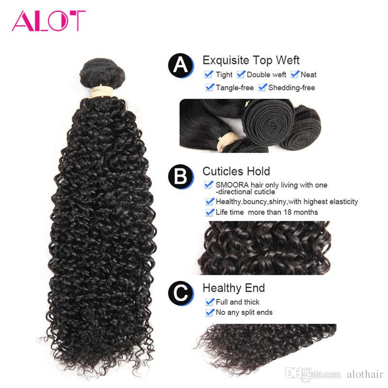 Brazilian Hair Bundles Kinky Curly 4 Bundles with Closure Unprocessed Peruvian Malaysian Human Hair Bundles Grade 8A Virgin Hair Extensions