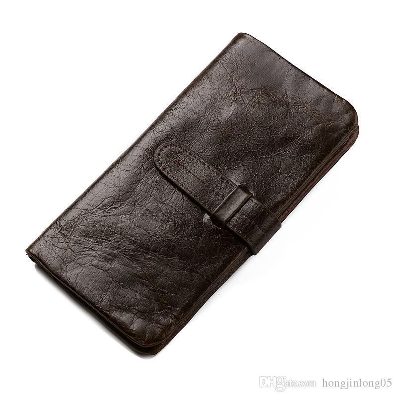 고전적인 진짜 가죽 남자 지퍼 2 접힌 대용량 ID 신용 카드 홀더 동전 포켓 지갑 안쪽에 새로운 롱 지갑 빈티지