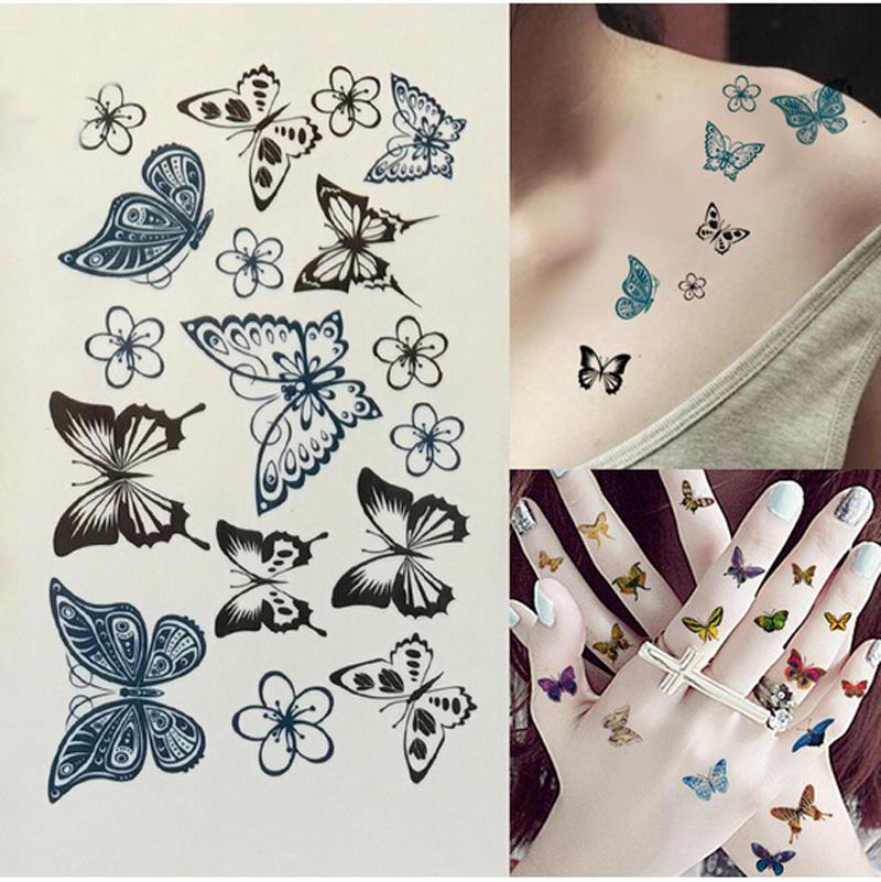Professional Black Butterfly Flower Waterproof Temporary Tattoos Sticker Transfer Sexy Body Art Fake Tattoo Paper Kit Tips
