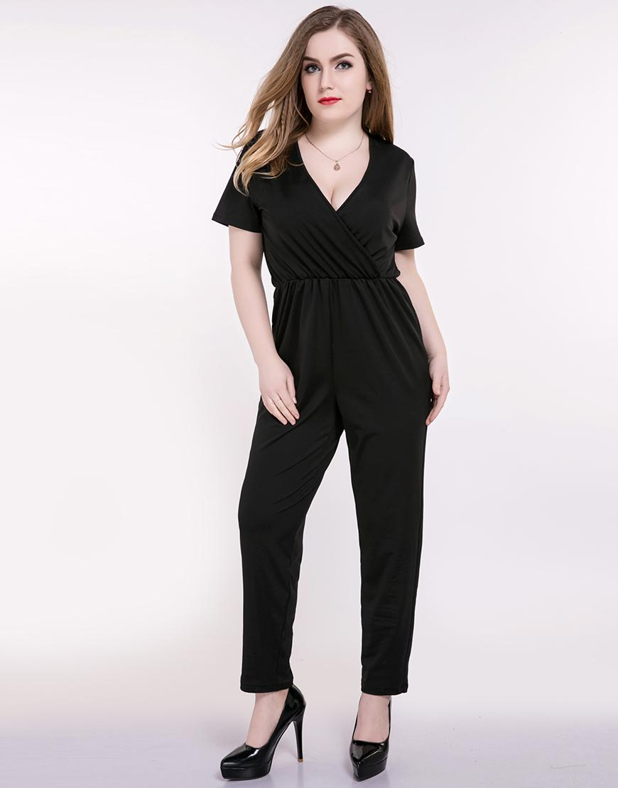 0cd042d6b990 2019 Wholesale Really Love Women'S Sexy V Neck Plus Size Wrap Summer Casual  Jumpsuits Short Sleeve Black Full Length Strechy Waist Party Wear From  Odeletta, ...