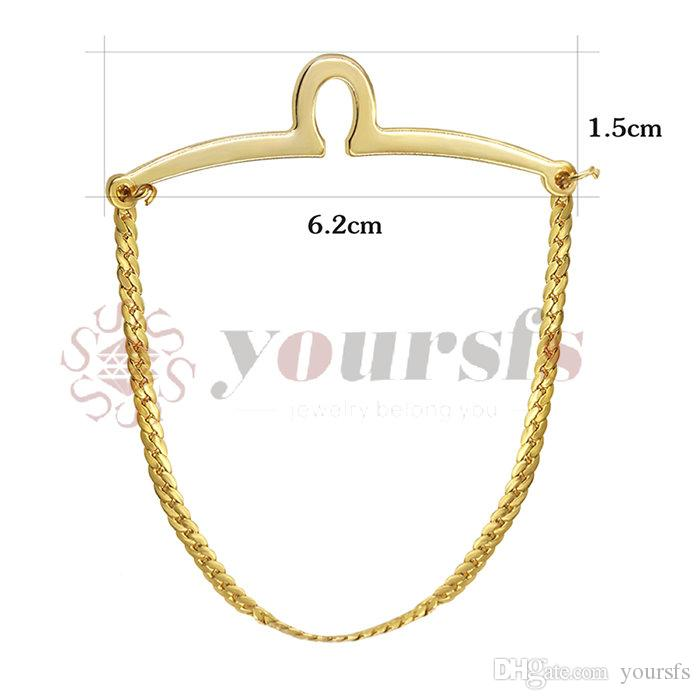 Yoursfs Classic Gold Color Tie Fixed Chain para Hombres Gold Plated Link Tie Chain Button Hole Hombres Joyería Top Costume Jewelry