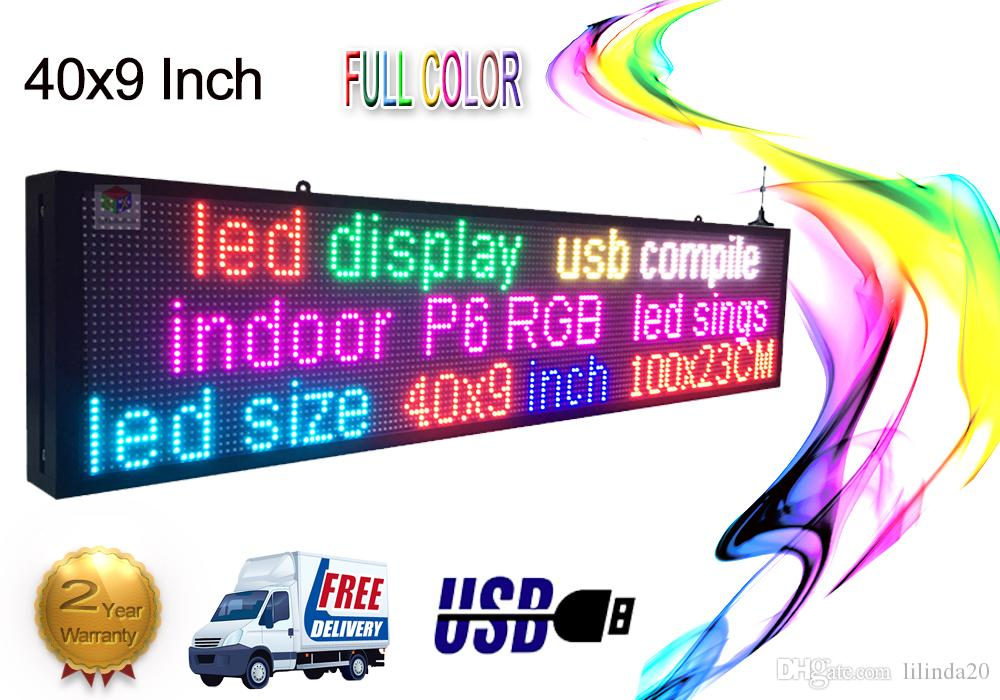 Indoor Programmable LED SIGN 40 x9 Full color Display Scrolling Message  Sign Board