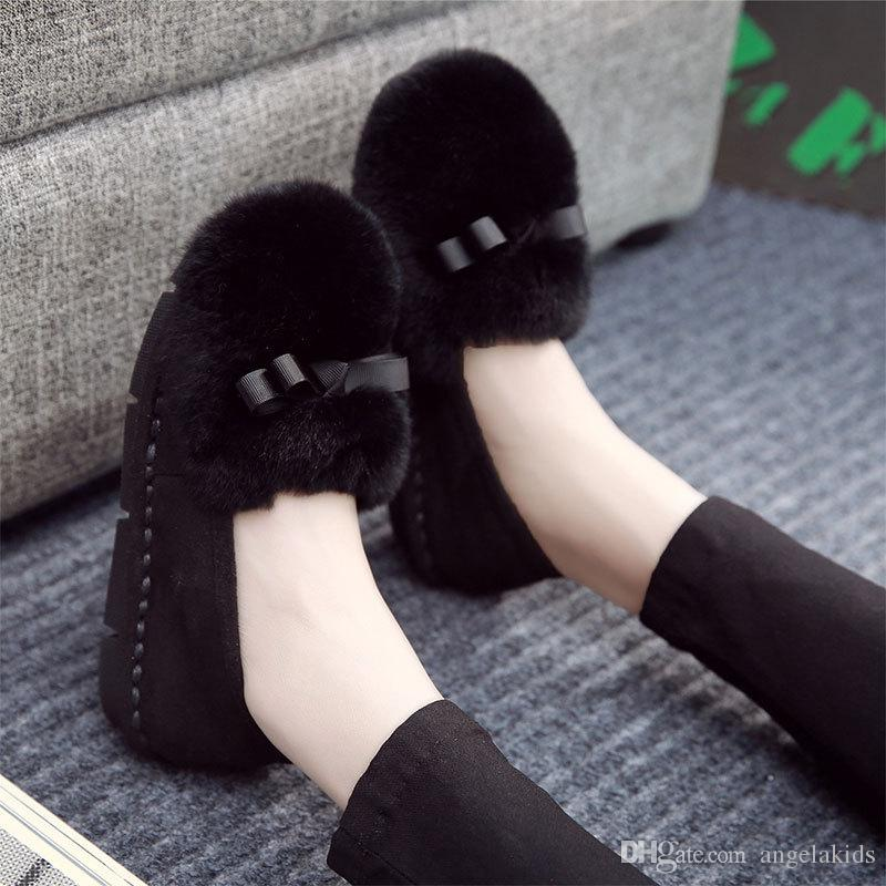 loafer shoes women NEW Womens Flat Fur Metallic Toe Slip On Loafers Casual Cute Rabbit Ears Women's Plush Canvas Loafers Flats Ladies