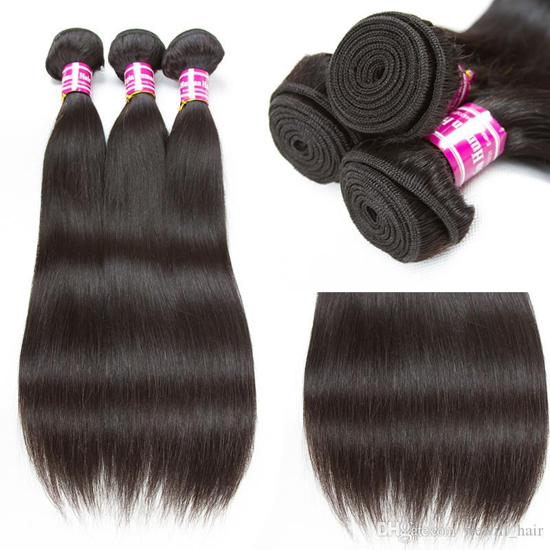 Extensiones de cabello humano remy recto de Remy Paquete de armadura de cabello virgen brasileño con cierre de encaje 4x4 Medio y parte superior libre Top de encaje tejido de cierre