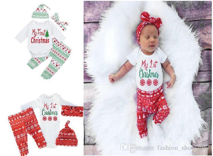 Yeni Moda Noel Casual Yenidoğan Bebek Boys Kız Romper Pantolon Hat başörtü Kıyafetler Seti Noel Giyim Tops