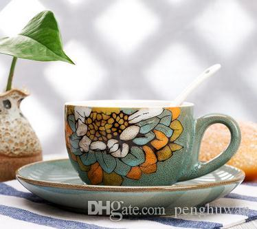 2018 Hand Painted Coffee Cup And Plate Set Features Retro Ceramic Cup Mug European Custom Gift Logo From Penghuwan $45.23 | Dhgate.Com & 2018 Hand Painted Coffee Cup And Plate Set Features Retro Ceramic ...