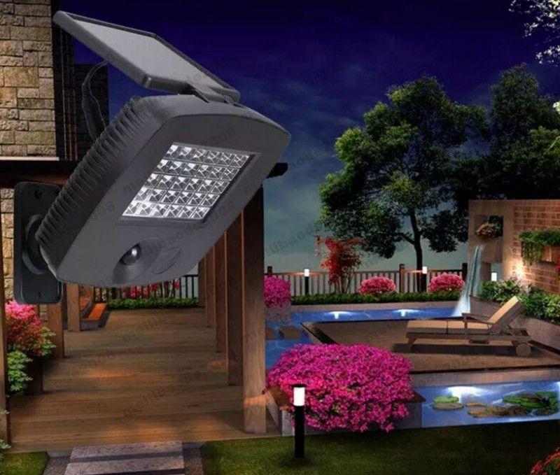 2017 NUEVO 30LEDs Panel de energía Luz de pared Luz de jardín al aire libre IR Control de sensor de movimiento por infrarrojos LED Lámparas solares para jardín Balcón MYY