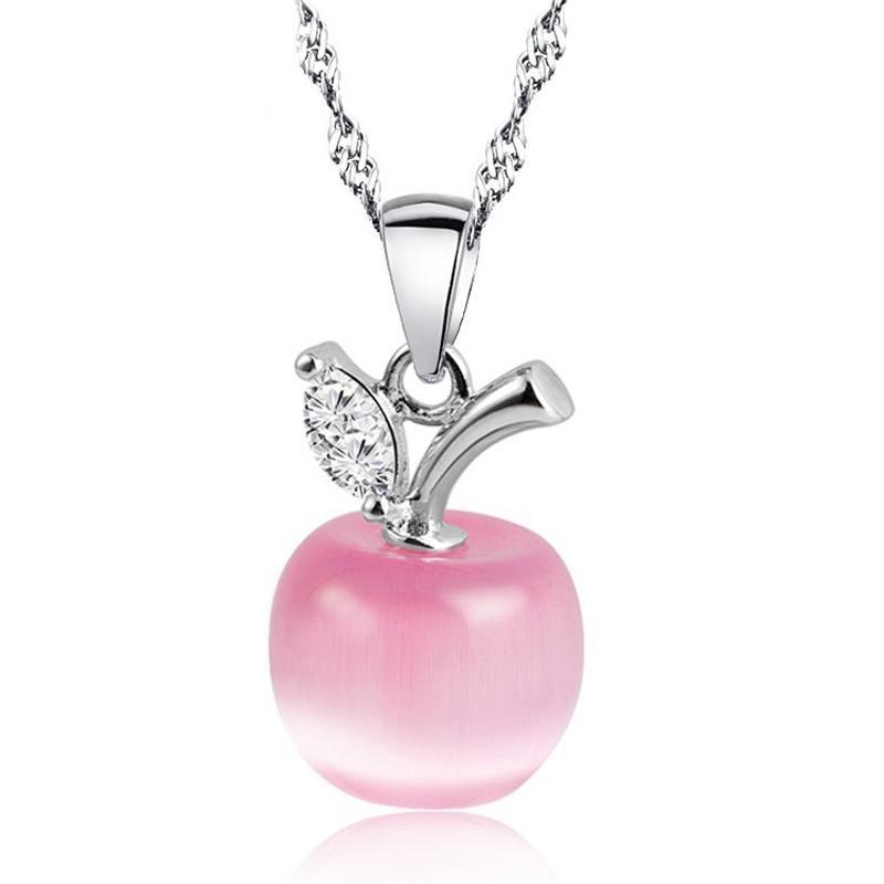 Neue nette weiße rote Apple-Halsketten-Anhänger für Frauen-Mädchen-Kristall-und Opal-hängende Halsketten-Art- und Weiseschöner Schlüsselbeinketten-Schmuck
