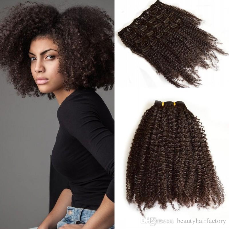 Afro Kinky Clip In Hair Extensions Brazilian Virgin Hair 4b 4c Afro