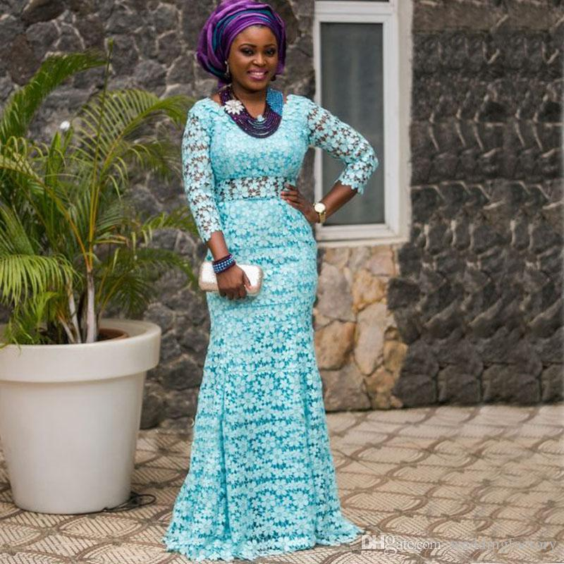 2017 African Fashion Dresses Illusion Lace Sleeves Mermaid Prom