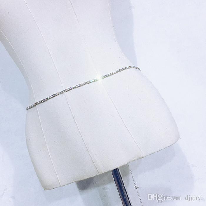 Color de plata 2Rows Crystal Sexy Women's Belly Cintura Cadena Joyería del cuerpo Sparking Rhinestone Cinturón Body Chain Party Club Dancer